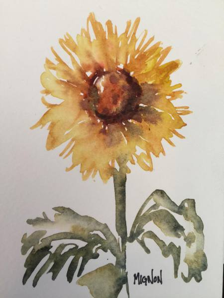 flower, yellow, watercolor