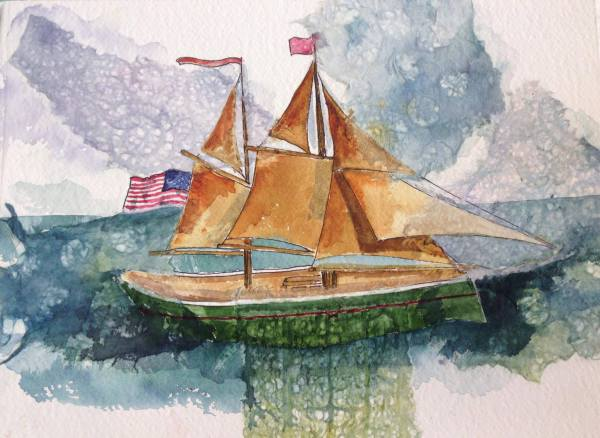 watercolor, stained, collage, tall-masted, sailing, ship, angelique, maine, vacation