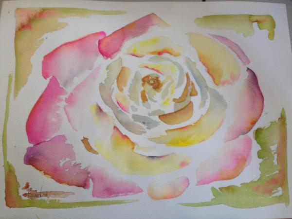 rose, watercolor, flower