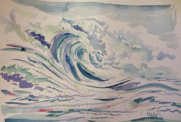 wave, watercolor, newport, rush, foam, ocean