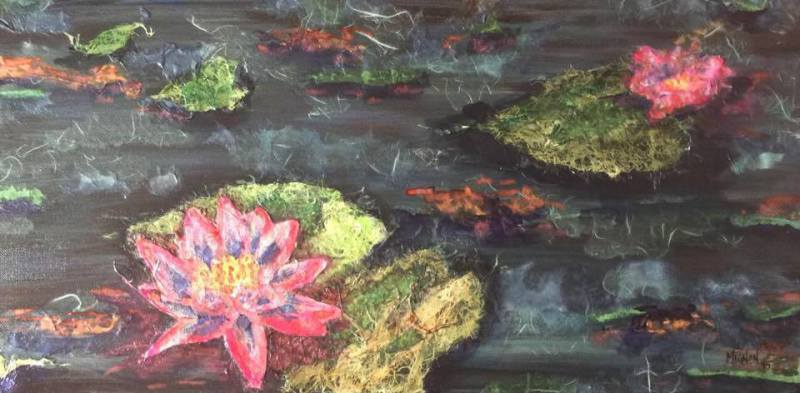 Waterlilies - Watercolor Stained Collage & ink on black gesso canvas 2015